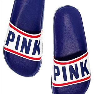 Vs PINK red, white, and blue slides